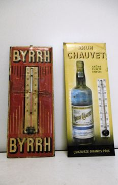 Thermometer lot BYRRH year 1931 + thermometer Rhum Chauvet +/- 1950 - 1960