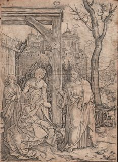 Durer's Life of the Virgin / Christ taking leave from his mother by Marcantonio Raimondi (1480 - 1534) - Ca. 1510