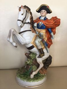 The famous Arabian horse Marengo, biscuit porcelain Napoleon on rearing horse- approx.1950 - Italy - marked