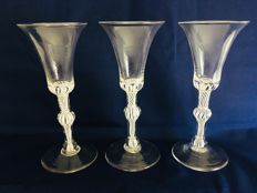 Three garland glasses with opaque garland and two knots in the stem, Holland or England, 18/19th century