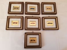 Alfa Romeo Lot of 7 pictures of various classic models, crafted on 23 ct gold leaf with certificates of warranty