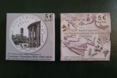 Italy - 5 Euro FDC 2012 '150° Anniversario Unificazione Monetari Italiana' [150th Anniversary of Italian Financial Unification'] + 5 Euro FDC 2013 '150th anniversary of Gioachino Belli' Silver