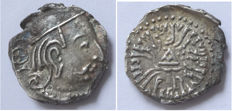 <Ancient East  ; India west Satrapen , Swami Rudraema lll . 348 - 390 AD , AR - Drachm 14 m/m