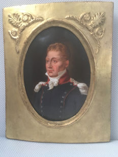 Portrait on porcelain depicting General La Fayette (1757-1834) - France - circa 1830