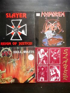 7 X LP of SLAYER with unofficial albums, imports, double : Reign Of Justice, Metal Massacre, Postmortem ....