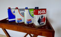4 vintage oil cans of IGOL