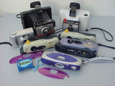 Seven Polaroid cameras: The Swinger (model 20), the Colorpack 80, the digital PCD 3035 and four I-Zone Instant pocket cameras