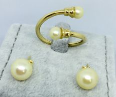 South Sea Pearls 18kt Yellow Gold Ring and Earrings Womens -size 10