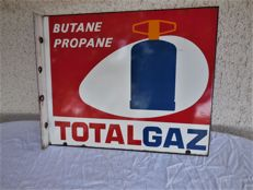 Old large heavy original enamel sign for Butane Propane TOTAL GAZ sign - the manufacturer text is on both sides