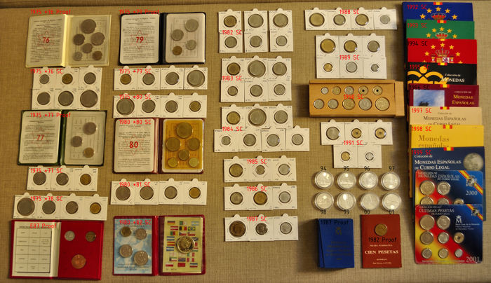 Juan Carlos I - Spain - Complete Collection of Pesetas including Spanish National Mint Wallets, Spanish National Mint Cases and Silver Coins - 207 Coins and Medals