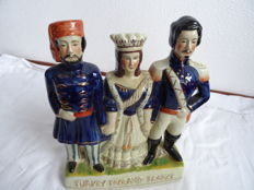 Earthenware Stattfordshire figurine of Napoleon III of France, Empress Eugenie and the Sultan of Turkey - England Staffordshire - 1st half 20th century