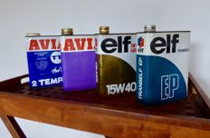 4 vintage oil cans of ELF and AVIA