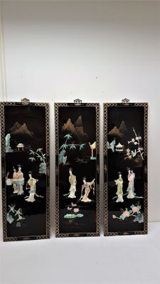 Three lacquer panels - China - late 20th century