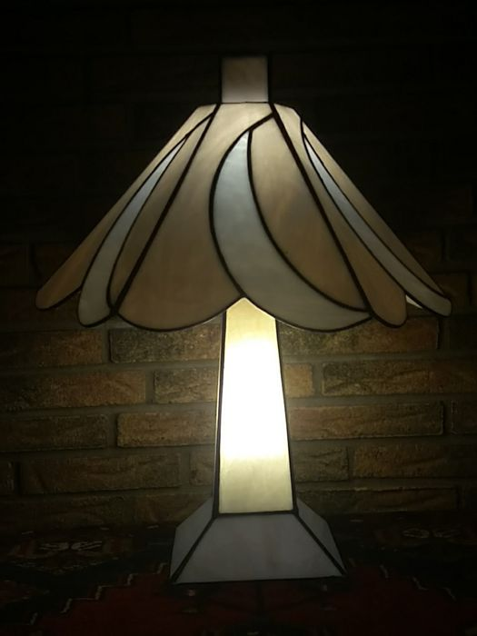 frantzen large art deco style lamp with two separate switching light points stained glass