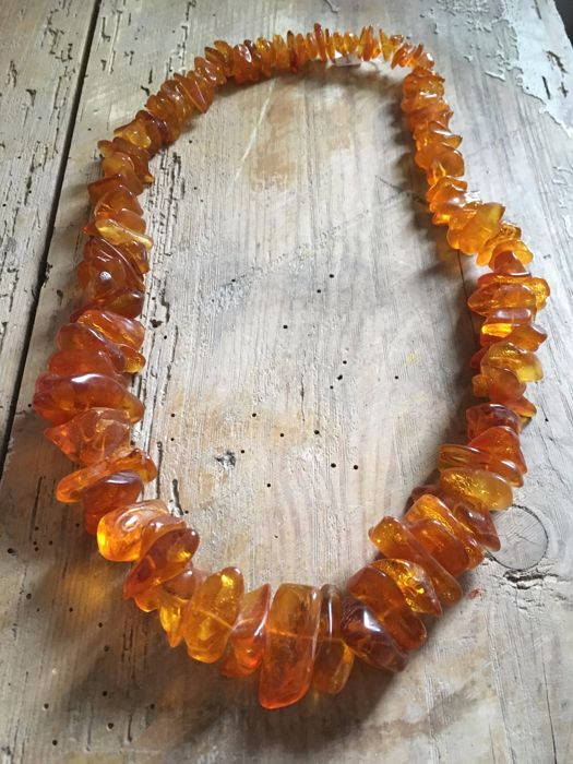 Vintage Baltic Amber necklace from 1950's,  natural, not treated,  146 gram