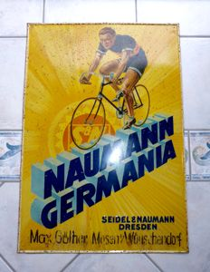 """NAUMANN GERMANIA FAHRRÄDER"" very old tin sign, Germany / Dresden circa 1910 !"
