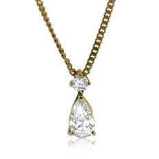 Classic 1.22ct Diamond Pear & Round-shape Pendant on a Chain, as new.