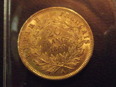 France - 20 francs 1860 A - Napoleon III - Gold