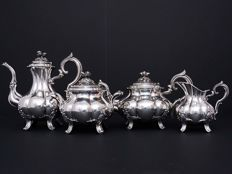 Sterling silver 4 piece service coffee -tea, Alphonse Debain, France, 1911-1916