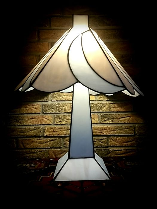 frantzen large art deco style lamp with two separate switching light points stained