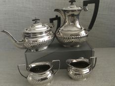 Ornate vintage four piece silver plated half fluted spiral design tea set by Harrison Fisher - Sheffield England - first half of 19th century