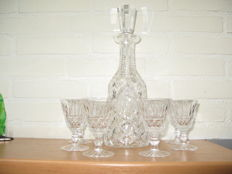 Waterford - crystal decanter and six glasses
