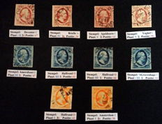 The Netherlands - 1852 - selection first emission, plated and positioned.