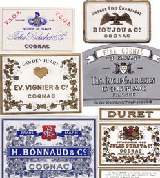 Superb collection of 34 very old Cognac / relative labels