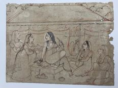"Set of two Indian Pahari preparatory miniature drawings - India - Early 20th century (9""/23cm)"