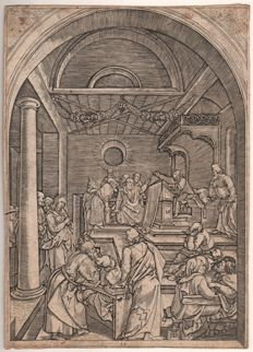 Durer's Life of the Virgin /by Marcantonio Raimondi (1480 - 1534) - Christ in the temple  - Ca. 1510