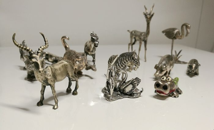 Collection of 14 Miniatures/Silver Animal Sculptures, Italy, 20th century