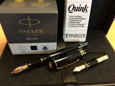 Parker Duofold International fountain pen 75 year Edition, With 18 carat F pen nib and an extra M pen nib