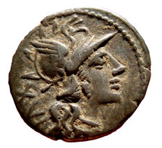Roman Republic - L. Julius silver denarius (4,04 g., 20mm.). Rome, 141 B.C. Dioscuri riding right.