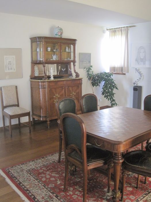 11 Piece Mahogany Dining Room Furniture In Louis XVI Style With Bronze Mounting And Marquetery