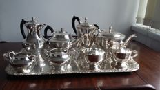 20 century copper bross & cavalier two set silver plated with tray made in england.