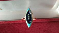 Ring in 18 kt (750/1000) rose gold enamelled azure and blue, with 3 diamonds (NO RESERVE)
