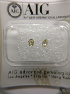 Lot of 2 Oval cut diamond total 0.25 ct Fancy Brownish Yellow VS1-VS2    No Reserve Price