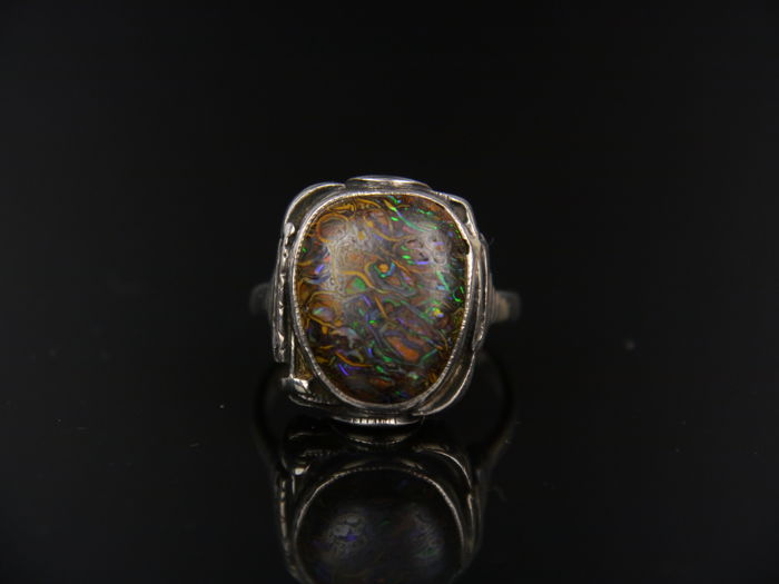 Rare antique matrix boulder opal ring, approx. 10.0 ct, 900 silver
