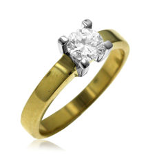 Modern 18kt Bi-color Gold 0.61ct Diamond Engagement Ring in new condition. Ring size: 57-18.25-Q (UK)