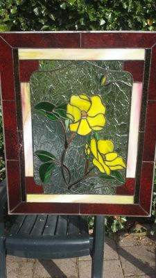 Stained glass window - beautiful yellow-coloured flowers, flower bud on branch - Netherlands - 2nd half 20th century