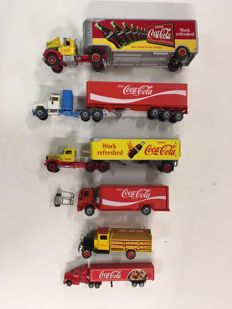 Franklin Mint / Siku / Matchbox - Scale 1/43-1/64 - Lot with 6 Coca-Cola trucks