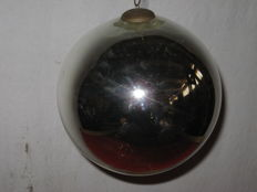 Blown glass and verre eglomisé Christmas ball