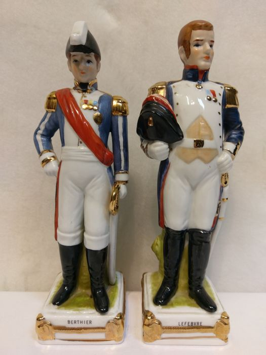 2 Antique rare Napoleon figurines wit gold painting and the name , France