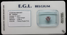 0.69 Cts Certified Fancy Purple pink Diamond  -No Reserve