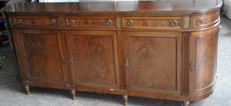 Ancient national walnut sideboard design date from 1890 to 1919 with 3 central and two side doors with opening, 5 shaped drawers and 8 saber legs Measures 280 cm, Depth 50 h.70 cm