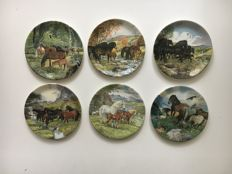 Davenport pottery - 'Ponies' plates - series of six