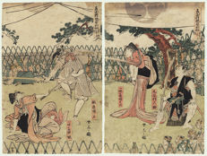 Original diptych by Katsukawa Shuntei (1770–1824) – 'Sabre combat of two sisters against a man to mete out justice' – Japan – ca. 1810