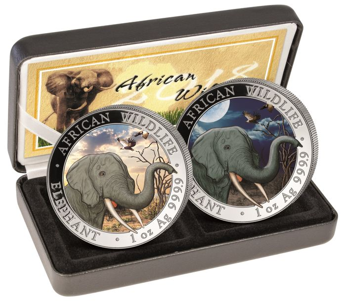 Somalia - set of 100 Shillings 2018 'African Wildlife - Elephant Day & Night' colour with box & certificate - 2 x 1 oz silver