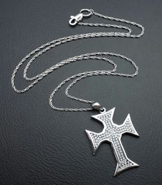 18 Ct White  Gold chain &  Diamond Cross  with Floating Diamonds,  Pendant 20x30 mm , chain 42 cm