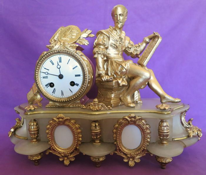 Alabaster and gilt metal clock - France, mid 19th century